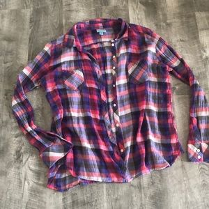 Checked Button Down Tops